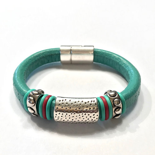 Turquoise Regaliz with Silver Dotted Bar