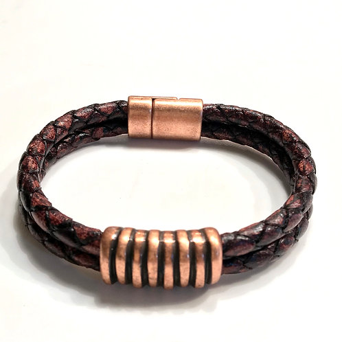 Distressed Brown Double Braided withCopper Zebra Bar and Clasp