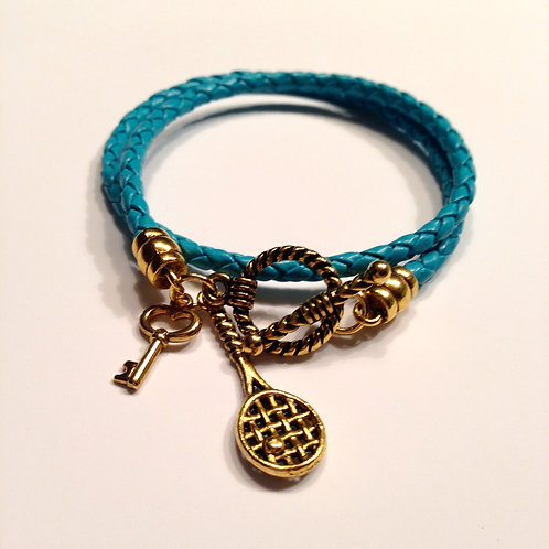 3mm Teal Braided Double Wrap Toggle with Charms