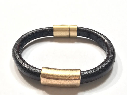 Mens Regaliz Black with Antique Gold Bar & Clasp