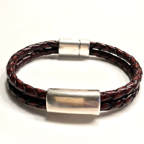 5mm Double Distressed Brown with Silver Bar