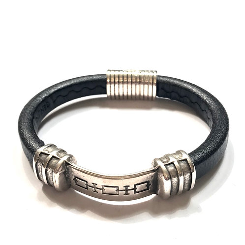 Mens Black with Engraved Silver Bar