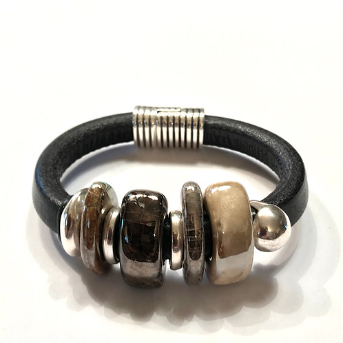 Black Regaliz with Greek Ceramic Beads and Silver Spacers