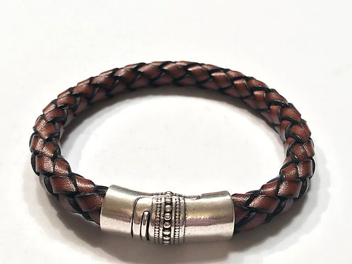 8mm Mens Vintage Brown Braid with Inlaid Silver Clasp