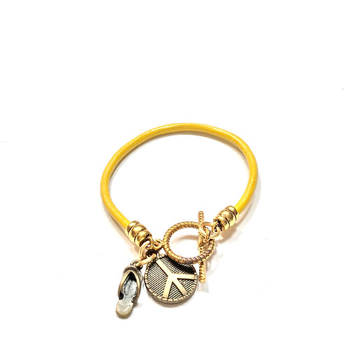 Yellow with Antique Brass Charms