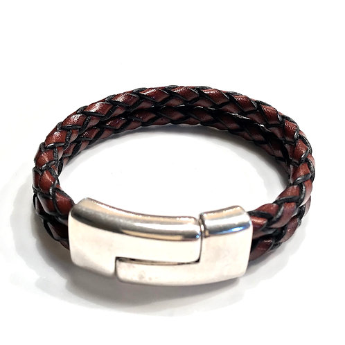 Double Distressed Brown with Large Silver Quarter Clasp