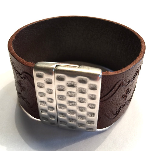 30mm  Brown Engraved Cuff with Hammered Clasp