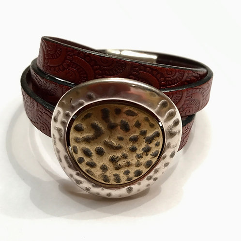 10mm Mahogany Engraved Triple Wrap with Gold Center