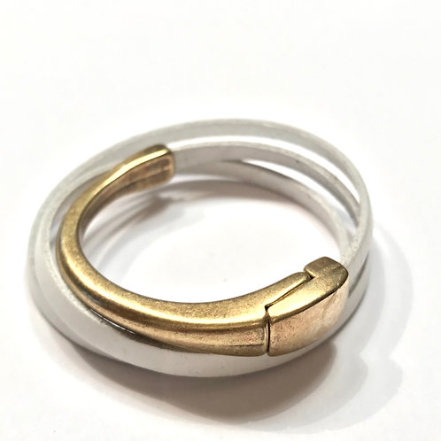 White Triple Wrap with Antique Gold Bar