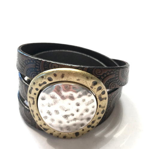 10mm Black -Brown Engraved Triple Wrap with Silver Center