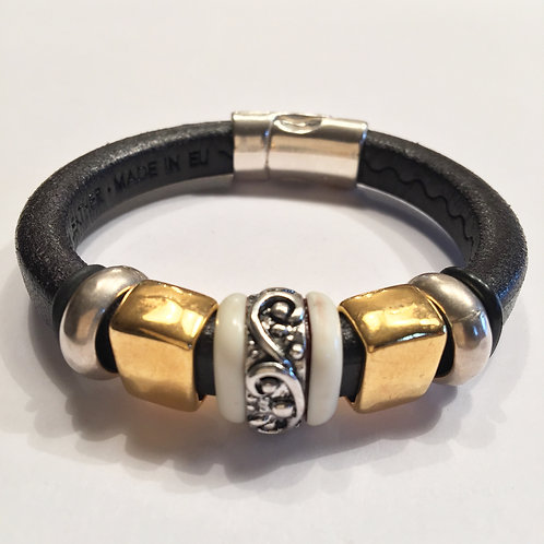 Black with Silver Inlaid Ceramic Bead with Gold
