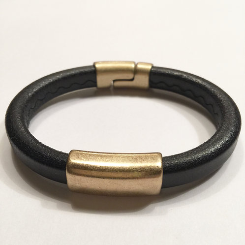 Mens Black Regaliz with Ant. Gold Bar & Clasp
