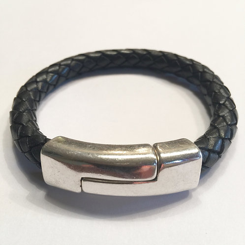 8mm Mens Black Braid with Large Silver Quarter Clasp