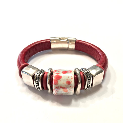 Red Regaliz with Ceramic Bead and Silver Spacers