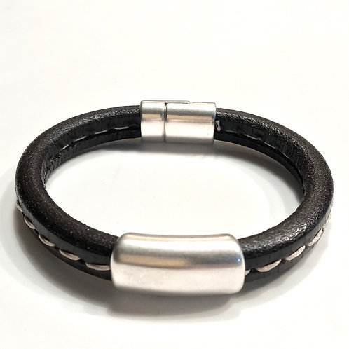 Dark Brown Stitched Leather with Silver Bar