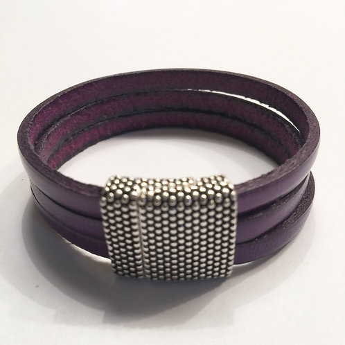 Purple Leather with 15mm Dotted Clasp