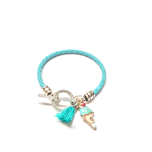 Turquoise with Tassel and Enameled Charm