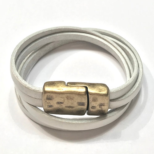 5mm White Double Wrap with Antique gold Clasp