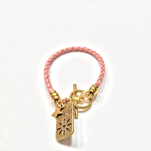 Pink Braided with Gold Charms