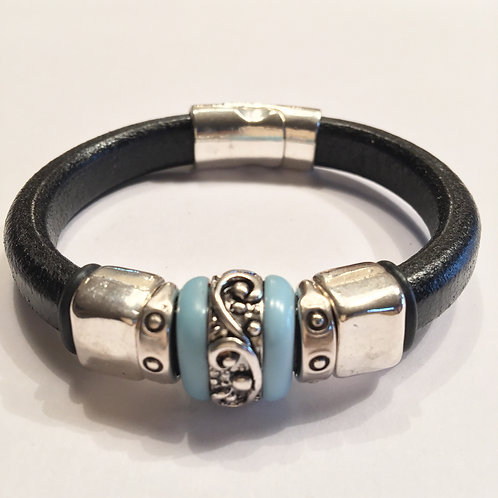 Black with Turquoise Silver Inlaid Ceramic Bead