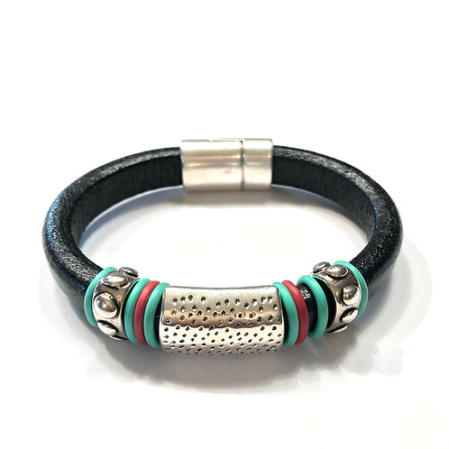 Black Regaliz with Silver Dotted Bar and Spacers