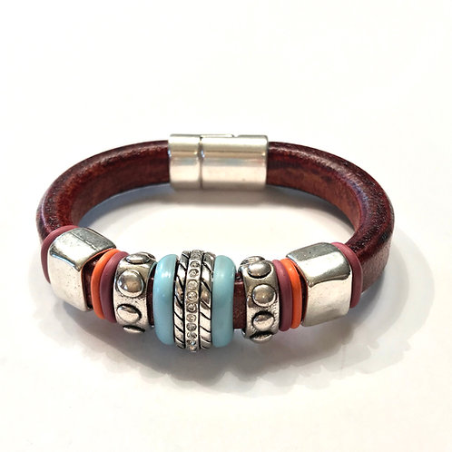 Hazelnut Regaliz with Inlaid Silver Ceramic Bead