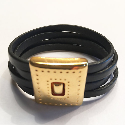 Black with 20mm Gold Magnetic Clasp