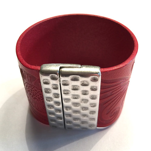 40MM Red Engraved Cuff with Hammered Clasp