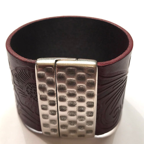 40mm  Bordeaux Engraved Cuff with Hammered Clasp