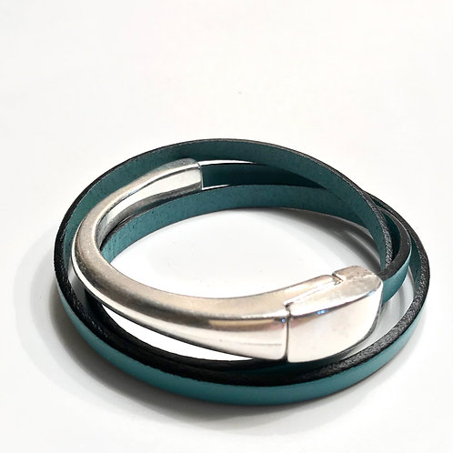 Turquoise Triple Wrap with Silver Magnetic Bar