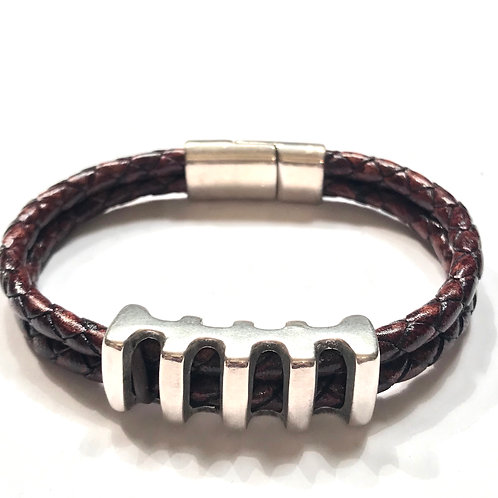 5mm Double Distressed Brown with Silver Railroad Bar