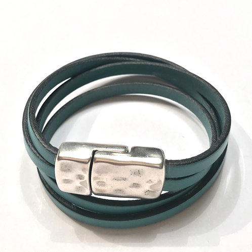 5mm Turquoise Double Wrap with Silver Hammered Clasp