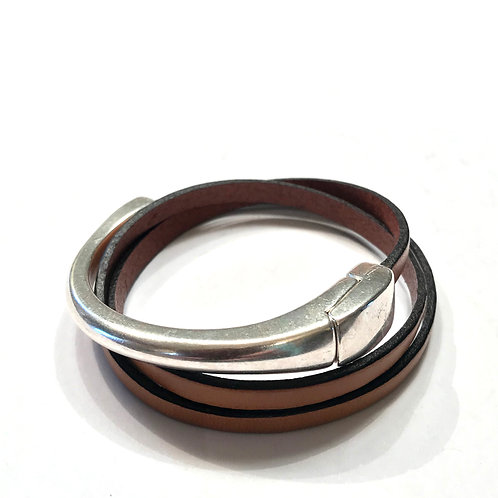 Tan Triple Wrap with Silver Magnetic Bar