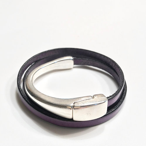 Purple Triple Wrap with Silver Magnetic Bar