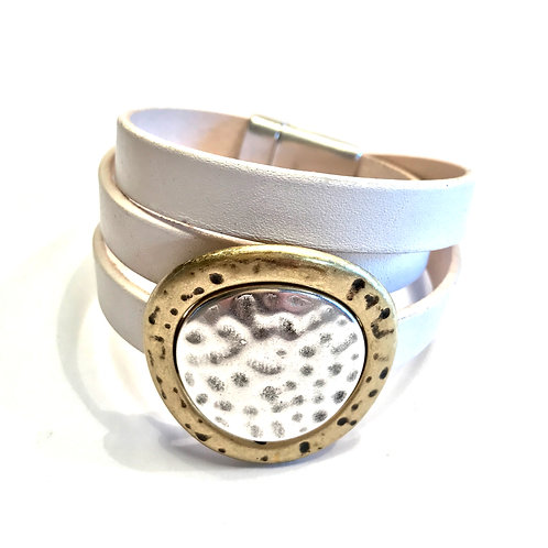 10mm White Triple Wrap with Gold Center