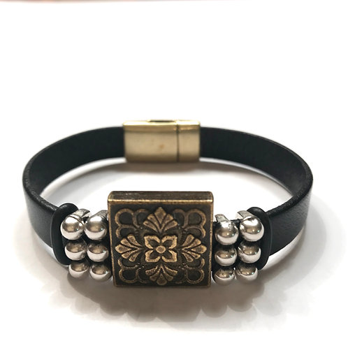 10mm Black with Large Antique Gold Bar and Marble Spacers