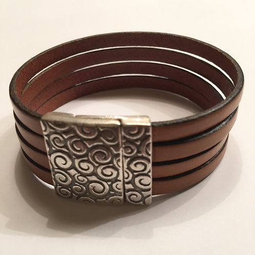 Tan Leather with 20mm Spiral clasp