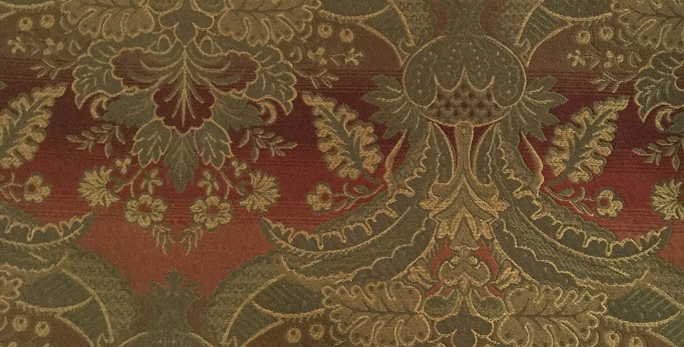 Dark Red and Green Damask