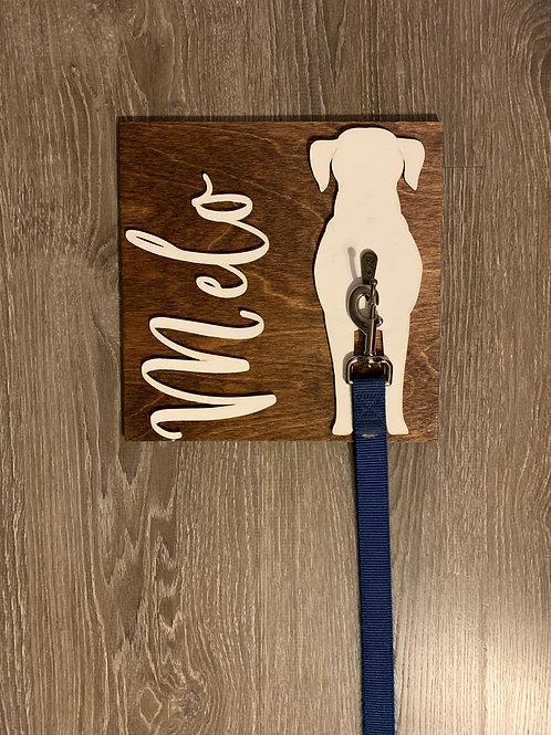 "10""x10"" Custom Dog Sign with Leash Hook"