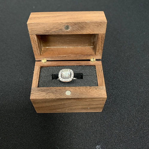 Wooden Ring Box with Magnetic Front Opening Lid