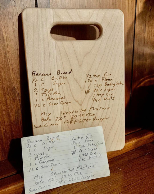 Small Maple cutting board with recipe.JP