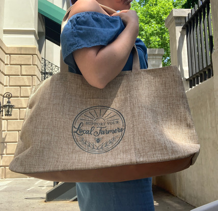 Farmers market shopping bag with rawhide