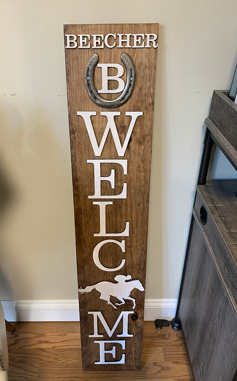 Racing Themed Welcome Porch Sign