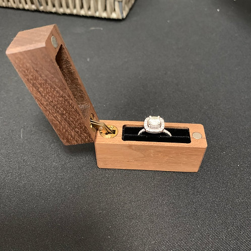 Wooden Ring Box with Magnetic Side Opening Lid