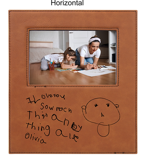 4x6 Leatherette Rawhide Picture Frame with Large Engraving Surface
