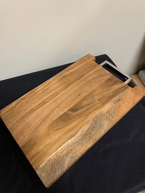 """15""""x10"""" Wood Serving Tray with Metal Handle"""
