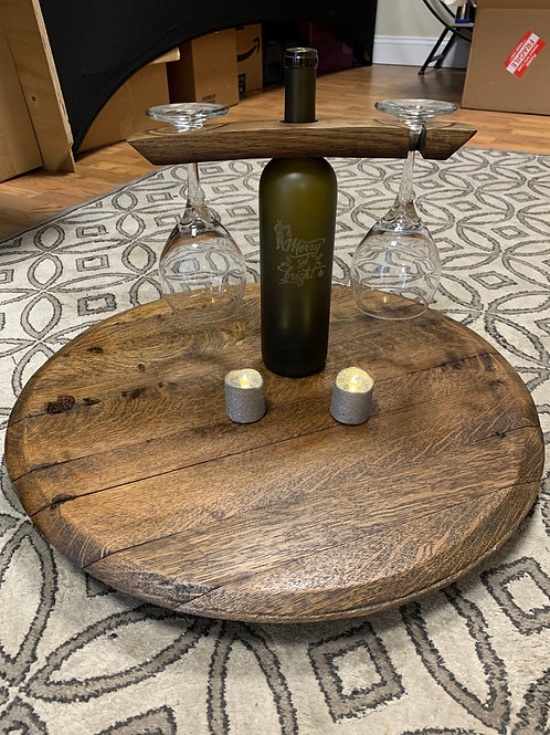 Reclaimed Red Wine Barrel Lazy Susan