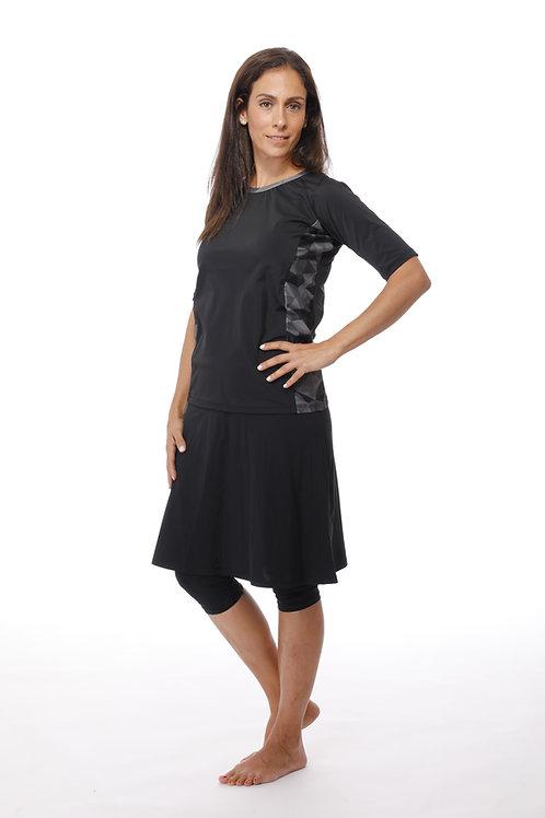 סט 5 חלקים חולצה בשילוב גווני אפור עם טייץ-חצאית