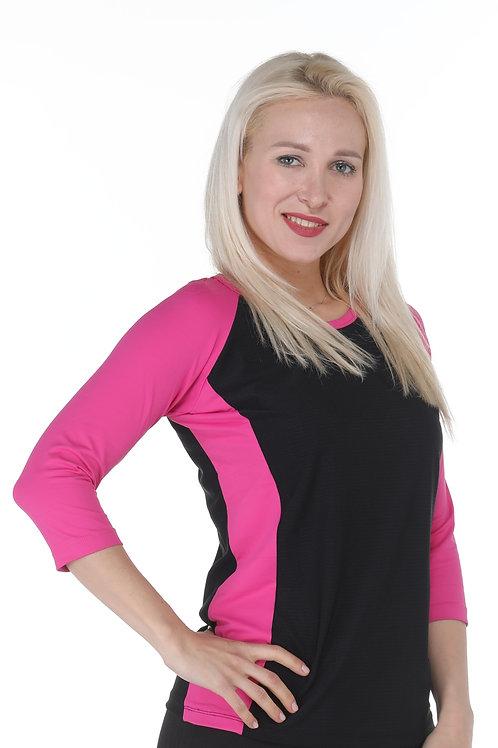 חולצת דרייפיט שרוול 3/4 שחור ורוד לספורט
