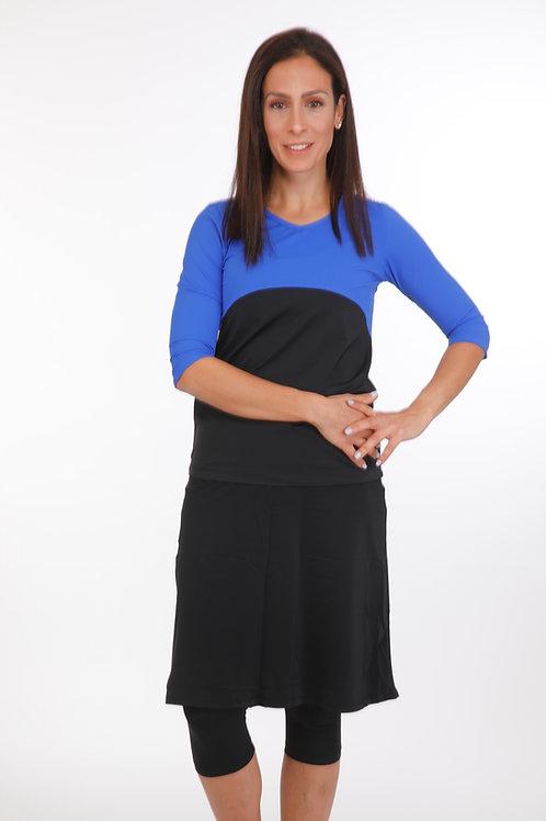 5 Piece Swim Set -  Blue and black Shirt with skirt